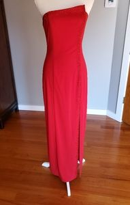 Red Strapless column dress with beaded detail